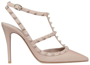 Valentino Studded Pointed Toe Ankle Strap Stiletto Classic Nude Pumps