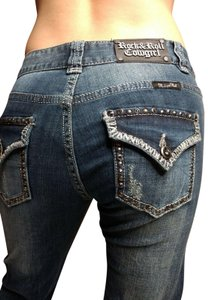Rock and Roll Cowgirl Studded Flap Pockets Bling Distressed Boot Cut Jeans-Medium Wash