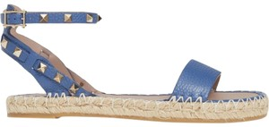 Valentino Studded Leather Open Toe Adjustable Strap blue Sandals