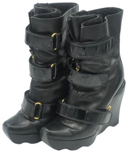Louis Vuitton Black Limited Edition Rare Leather Wedge Boots
