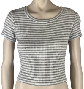 LA Hearts Fitted Slim Scoop Neck Top Gray Grey White