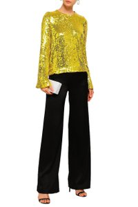 Galvan London Sequin Embellished Clara Out Top Metallic Yellow/Gold