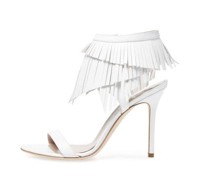 Item - White Fringe Sandals High Heels Leather Boots/Booties Size US 9.5 Regular (M, B)