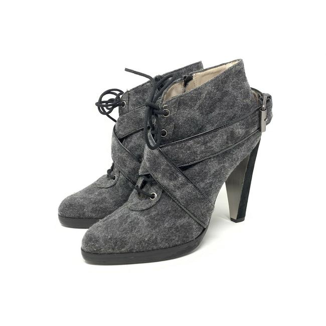Item - Gray Animal Print Lace Up Heeled Ankle Point Toe Boots/Booties Size US 6 Regular (M, B)