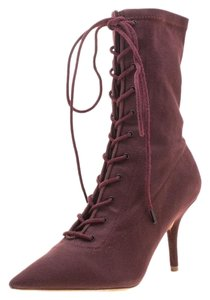 YEEZY Canvas Lace Pointed Toe Ankle Burgundy Boots