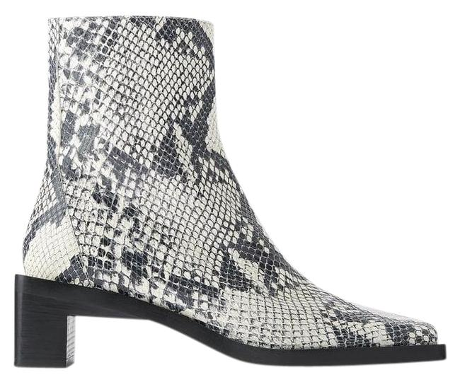 Item - Gray Square Heeled Leather Ankle Animal Snake Boots/Booties Size US 6 Regular (M, B)