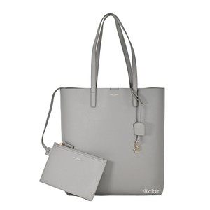 Saint Laurent Monogram Leather Tote in Oyster Grey