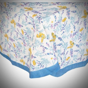 Purple/Yellow/Blue Rare French Hand-block Art Butterfly Couleur Nature For Home Paris France Designer. N' Tablecloth