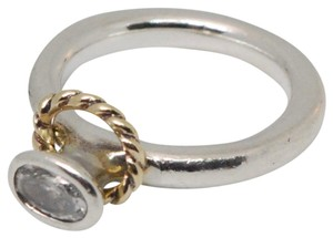 PANDORA PANDORA Silver Ring ,Clear CZ & 14K Gold Halo Rope