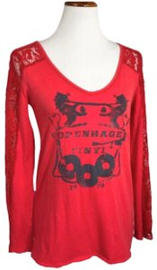 Free People T Shirt Red Blue