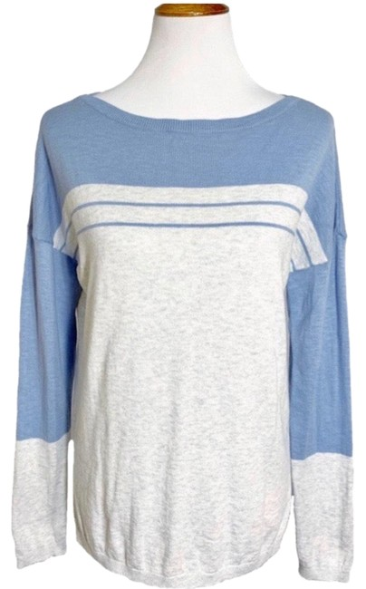 Item - Striped Colorblock Knit Blue Gray Sweater