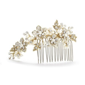 White Or Ivory Swarovski Crystals Pearls Brushed Gold Comb Hair Accessory