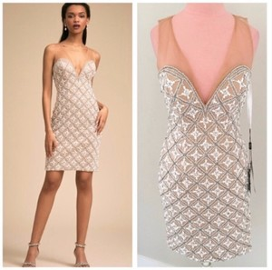 BHLDN Nude and Ivory Polyester Anthropologie About Last Night Sexy Bridesmaid/Mob Dress Size 4 (S)