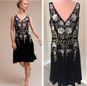 Aidan Mattox Black Polyester Anthropologie Bhldn Daire Formal Bridesmaid/Mob Dress Size 12 (L)