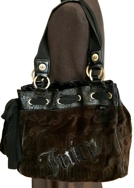 Item - Large with Bow Brown and Black Velour Satchel