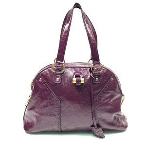 Saint Laurent Muse Ysl Patent Leather Tote in Purple