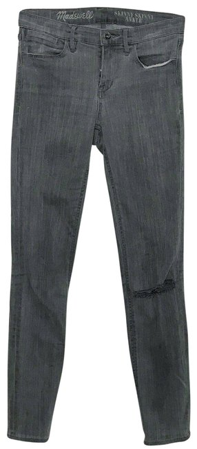 Item - Grey Medium Wash Ankle Ripped Skinny Jeans Size 26 (2, XS)