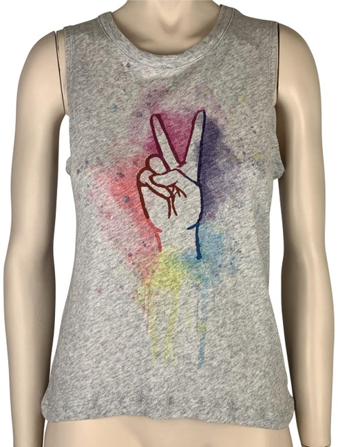 Item - Gray Grey Pink Purple Blue With Peace Sign Sleeveless Tank Top/Cami Size 2 (XS)