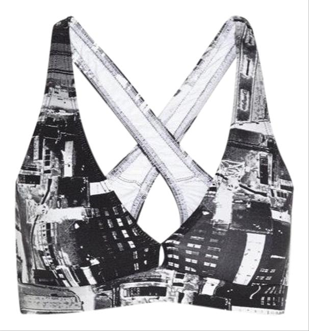 Item - Black White and Gray Lily Cityscape Printed Stretch Activewear Sports Bra Size 16 (XL, Plus 0x)