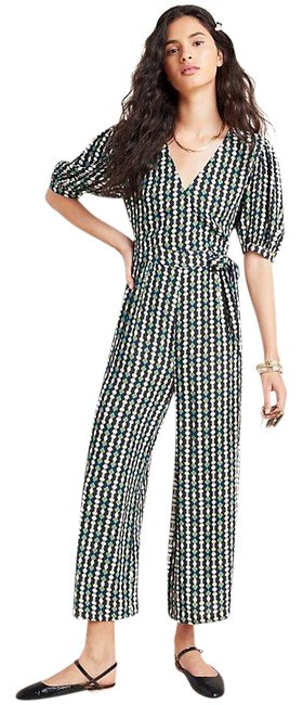 Item - Green Blue Black White Gold Evie Abstract Romper/Jumpsuit