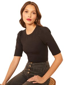 Reformation T-shirt Fitted Spandex T Shirt Black