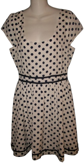 Item - Blue and White Cap Sleeve Scoop Neck Polka Dot Short Casual Dress Size 10 (M)