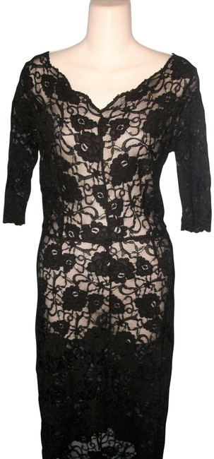 Item - Black Floral Lace 3/4 Sleeve Hilo Mid-length Night Out Dress Size Petite 6 (S)