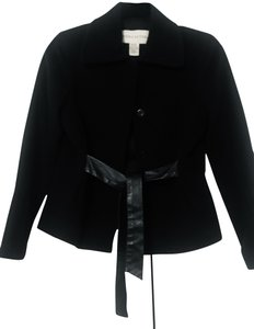 Doncaster Doncaster navy wool jacket with leather belt tie