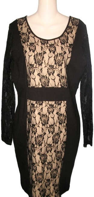 Item - Black Long Sleeve Floral Lace Accented Mid-length Night Out Dress Size 16 (XL, Plus 0x)