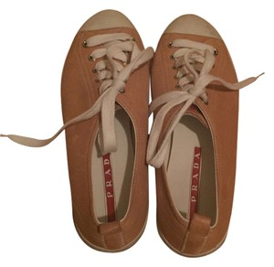 Prada Sneaker Designer Classic Leather tan Flats