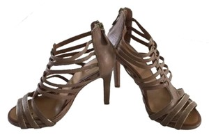 Ann Taylor Strappy Gladiator Zipper Beige Sandals