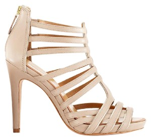 Ann Taylor Strappy Gladiator Zipper Leather Sole Beige Sandals