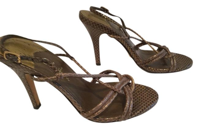 Item - Brown and Gold All Leather Sandals Size US 5.5 Regular (M, B)