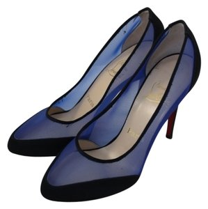 Christian Louboutin Mesh Royal Blue and Black Pumps