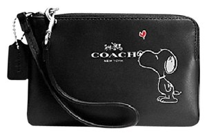 Coach Limited Edition X Peanuts Snoopy Calfskin Collectible Wristlet in Black-Saddle-SV