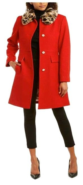 Item - Red New York Long Wool Blend Coat Size 14 (L)