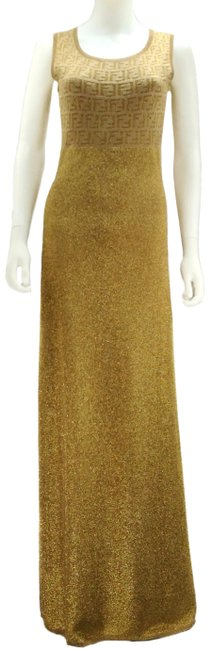 Item - Gold Knit Monogram 1990s Long Night Out Dress Size 8 (M)