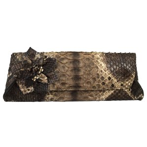 Anthony Luciano Snakeskin Python Exotic Flower Magnetic Brown Clutch