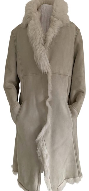 Coach White W Shearling Hidden Snaps M Cozy Coat Size 8 (M) Coach White W Shearling Hidden Snaps M Cozy Coat Size 8 (M) Image 1