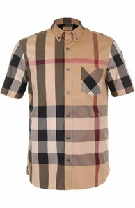 Burberry Beige Thornaby Camel Cotton Red Black Nova Check Classic Sleeve Shirt