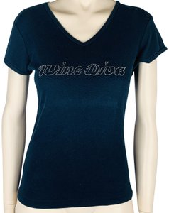 Diva Wine Alcohol Sequin Slim Sleeve T Shirt Blue Silver