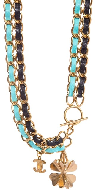 Item - Multicolor Black & Teal Chain Link Belt