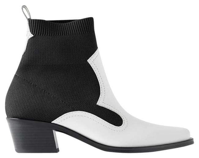 Item - White Contrasting Stretch Heeled Ankle Sock Style Black/White Color New Boots/Booties Size US 6.5 Regular (M, B)