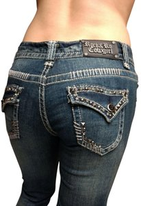 Rock and Roll Cowgirl Low Rise Distressed Rhinestones Studded Flap Pockets Boot Cut Jeans-Medium Wash