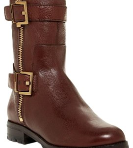 Aerin Gold Buckle Snap Zip Round Toe brown Boots