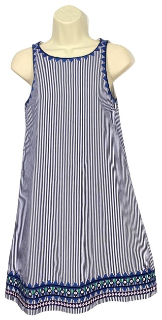 Item - Navy and White Geo Prep Embroidered Swing Mid-length Short Casual Dress Size 00 (XXS)
