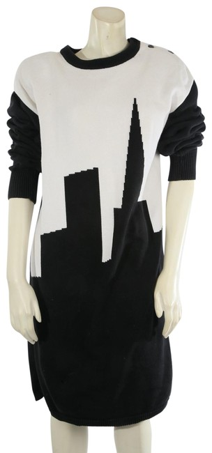 Item - Black White City Cotton Knitted Sweater Short Casual Dress Size 4 (S)