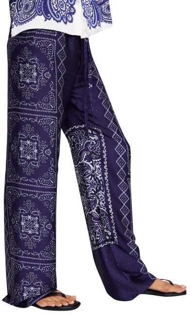 Item - Blue Printed Flowing High-waist Paisleys Trousers Color Pants Size 6 (S, 28)