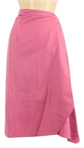 Sisley Crossover Wrap Wool Asymmetrical Skirt Pink