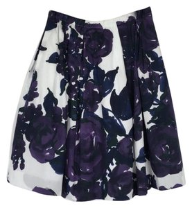 Piazza Sempione Pleated Floral Lined Luxury Zipper Mini Skirt Purple/Navy/White